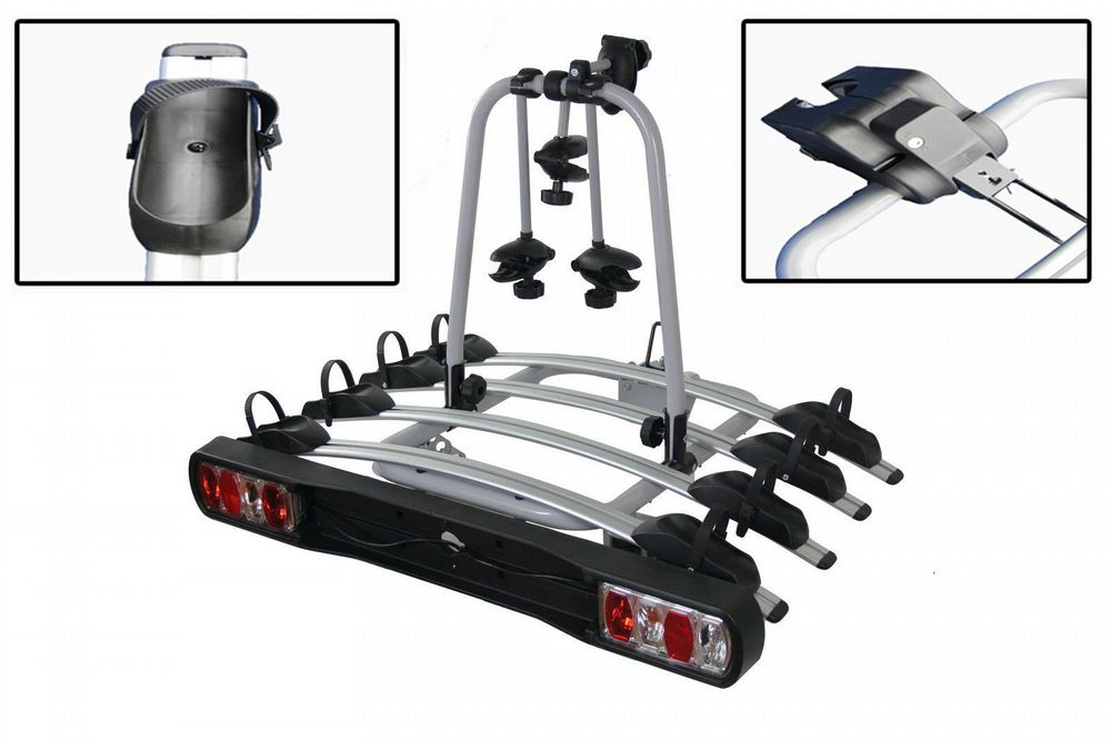 Tow Bar Mounted 4 Bike Cycle Carrier - Family Cycling Rack Secure Transport Bicycle Carry